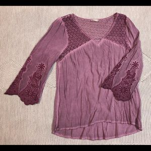 Altar'd State purple distressed lace top
